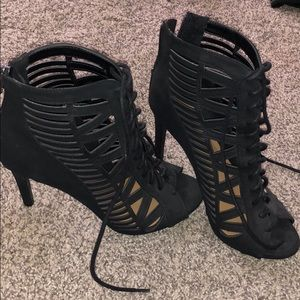 Paprika lace up black heels